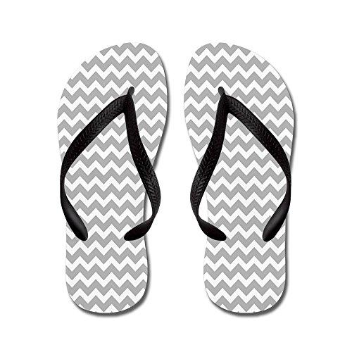 CafePress Chevrons White Light Gray - Flip Flops, Funny Thong Sandals, Beach Sandals Black