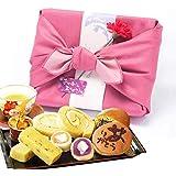 母の日 ギフト お芋スイーツ 和菓子ギフトセット 竹籠入り風呂敷包 (ピンク色風呂敷包)