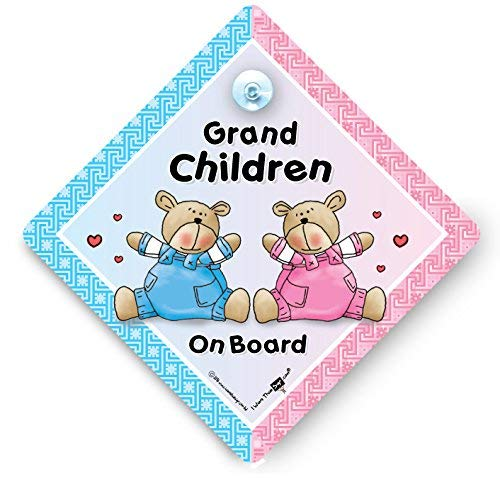 Grandchildren On Board Car Sign, Grandchidren On Board Boy and Girl Car Sign Car Sign With Suction Cup, Car Sign, Brown & Green Bears, Baby on Board, Decal, Baby Sign, Baby Car Sign, Bumper Sticker, Baby on Board Sign, Kid's On Board Sign, Baby Car Sig