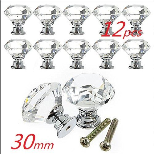 WP-TT® 30mm Clear Crystal Glass Diamond Shape Cabinet Knob Drawer Cupboard Pull Handle 12pcs-Pack Used for Drawer Wardrobe Cabinet Cupboard (White)