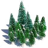 Mini Snow Globe Christmas Trees Tabletop Fake Bottle Brush Decor Craft Xmas Village Flocked Pine Trees Party Favor DIY Accessories Up to 4-7/8'' Grass Green 16PCS White Plastic Base