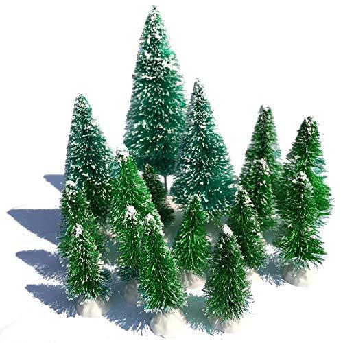 (Mini Snow Globe Christmas Trees Tabletop Fake Bottle Brush Decor Craft Xmas Village Flocked Pine Trees Party Favor DIY Accessories Up to 4-7/8'' Grass Green 16PCS White Plastic Base)