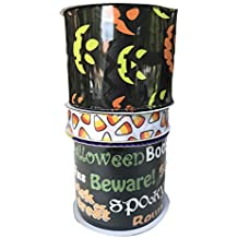 Candy Corn Pumpkin Faces and Black Happy Halloween Bundle of Three Halloween Themed Ribbons