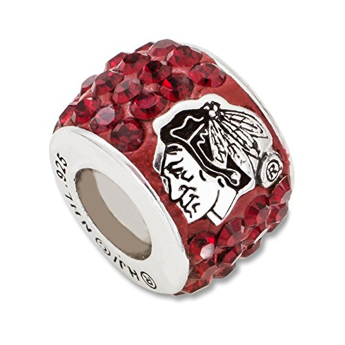 Solid 925 Sterling Silver NHL Chicago Blackhawks Premier Crystal Charm Bead Charm Very Small Pendant (0.4mm) Blackhawks Pendant Sterling Silver Jewelry