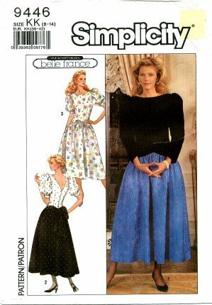 [Simplicity 9446 Sewing Pattern Misses Belle France Full Skirt Dress Size 8 - 14 - Bust 31 1/2 - 36] (1980s Dress)