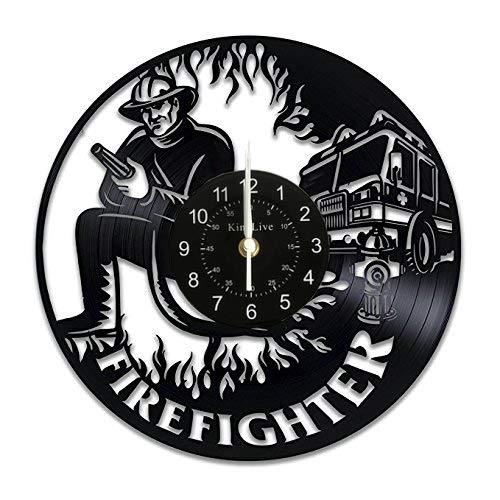 Firefighter Vinyl Wall Clock Retirement Gift Art Gifts for Women Men Decor Fire Truck Items Birthday Party Vintage Decal Artwork