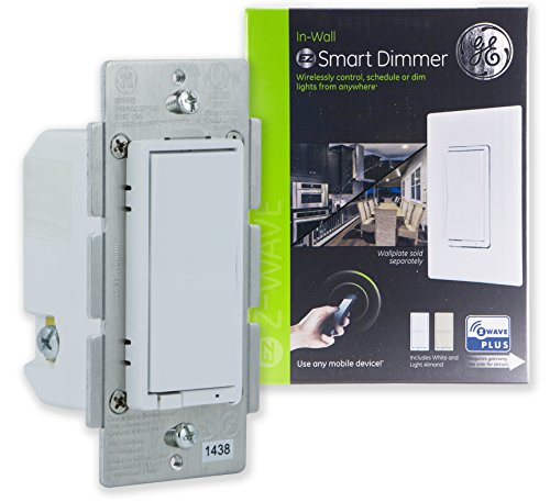 GE Z-Wave Plus Smart Control Dimmer Switch, Wall, White & Light Almond Paddles, Repeater/Range Extender, Zwave Hub Required-Works with SmartThings Wink & Alexa, 14294