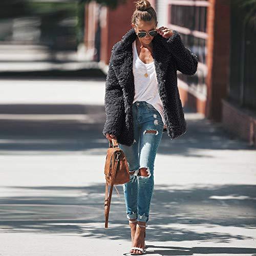 Hiver Mode Automne Sunenjoy Épaissir Femme Chaud En Longue Manteau Veste Cardigan Sweat Survêtement Laine Gris Revers Foncé shirt Artificiel Vêtements Polaire De Manche ARAUr
