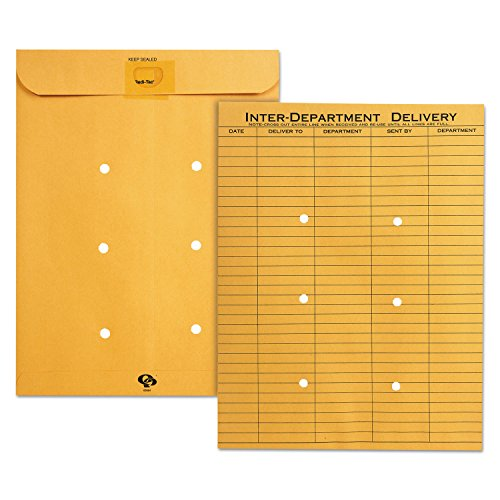 Quality Park 63664 Brown Kraft Resealable Redi Tac Interoffice Envelope, 10 x 13, 100/BX