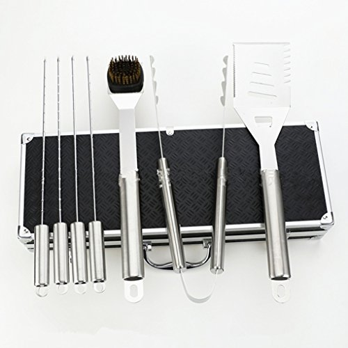 Volksrose premium 8 pieces stainless steel bbq set with - Grill utensil storage ideas ...