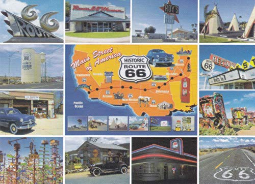 SKDR66-02 MAIN STREET OF AMERICA, HISTORIC ROUTE 66 [MULTIPLE MINI PICS ON ONE CARD ] [[ 6