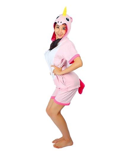 Kenmont Unicorn Pijamas Traje Disfraz Adulto Animal Pijamas Cosplay Halloween Verano (S: 145-155cm, Rosa Unicornio)