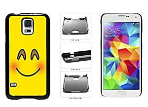 Bright Yellow Blushing Smiley Face Plastic Phone Case Back Cover Samsung Galaxy S5 I9600