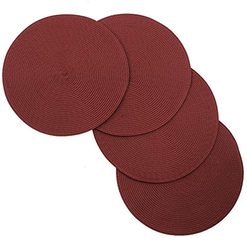 Spiral Non-Slip Table Placemats 15 Inches Round Set of 4 Burgundy Tkdecor from Unknown