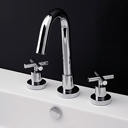 Deck-mount three-hole faucet with a goose-neck swiveling spout, two cross handles, and a pop-up drain. Water flow rate: 1 gpm pressure compensating aerator, Brushed - Swiveling Faucet Spout Gooseneck