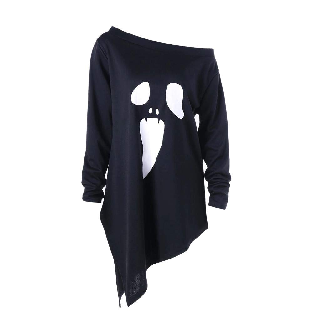 Halloween Sweatshirt for Womens Ghost Shirts Slouchy Off Shoulder Pullover Tops (M, Black-2)