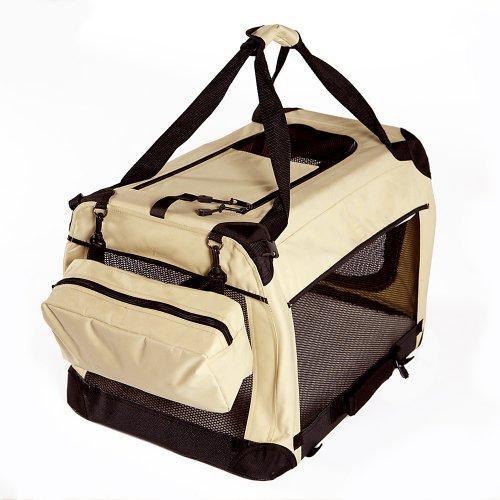 GoGo Pet 3-Door Soft Dog Crate, Medium 36''L x 25''W x 25''H, Tan