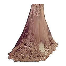 EllieHouse Women's Lace Chapel Wedding Bridal Veil With Free Comb E21