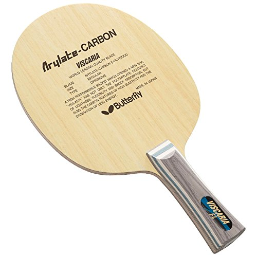 Butterfly Viscaria Blade | FL or ST Handle | Professional Table Tennis Blade | 5 Wood + 2 Arylate-Carbon Plies | Made in Japan