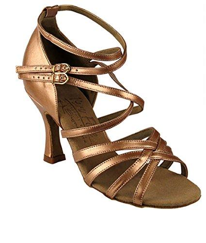 Meget Fint Balsal Latinske Tango Salsa Dans Sko Til Kvinder S9206 2,5 Tommer Hæl + Foldbar Børste Bundt Kobber Nøgen Læder