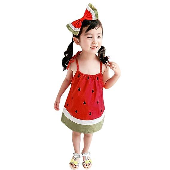 OPAKY Vestido de Deslizamiento con Sandalias Casual para Niñas Pequeños Vestidos de Boda de la Princesa del Bebé Bautizo Vestido de Fiesta de Cumpleaños del ...