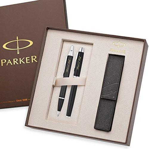 PARKER Schreibset IM Schwarz C.C. mit persönlicher Laser-Gravur Tintenroller und Kugelschreiber im großen Geschenk-Etui