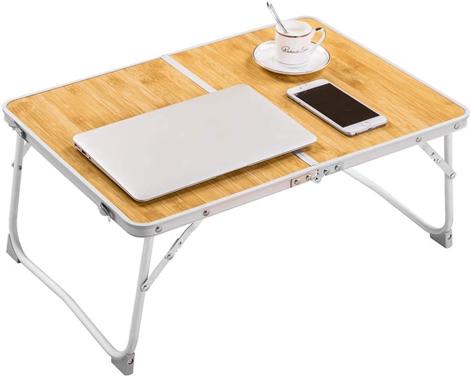 RAINBEAN Foldable Laptop Table Lapdesk, Breakfast Bed, Portable Mini Picnic Desk,Notebook Stand Read Holder for Couch Floor,Folding in Half w' Inner Storage Space, Aluminum Alloy Leg-Bamboo Wood Grain