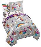Jay Franco Nickelodeon JoJo Siwa Rainbow Sparkle 5 Piece Twin Bed Set, Grey
