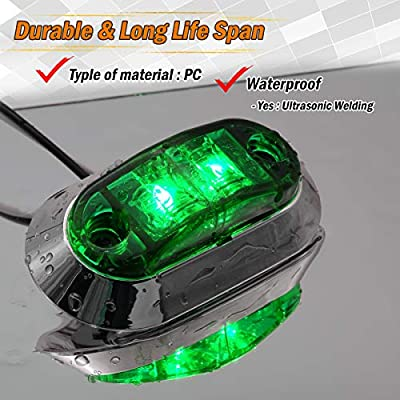 Meerkatt (Pack of 10) 2.5 Inch Clear Lens Green Oval LED Side Fender Marker Light Sealed Surface Mount Clearance Courtesy Lamp Lorry Trailer Bus Van Truck RV Cab Multi-Volt 12V 24V DC Universal LM-CHS: Automotive