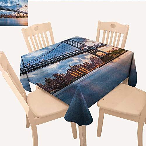 longbuyer New York City Fabric Tablecloth Kennedy Triboro Bridge in Queens New York Manhattan River Scenery BBQ Tablecloth Peach Blue Orange W 60