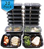Compra [20 Pack] 32 Oz. 2 Compartment Meal Prep Containers Durable BPA Free Plastic Reusable Food Storage Container Microwave & Dishwasher Safe w/ Airtight Lid For Portion Control & Bento Box Lunch Box en Usame