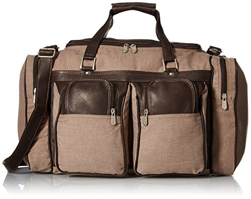 Piel Leather 20in Duffel Bag with Pockets, Chocolate