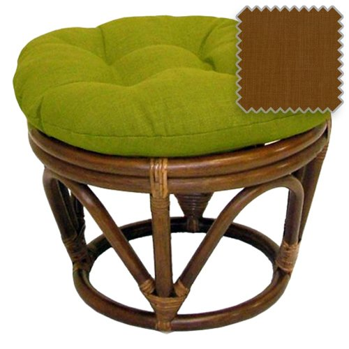 18-Inch Bali Rattan Papasan Footstool with Cushion - Solid Outdoor Fabric, Mocha - DCG Stores Exclusive Papasan Footstool