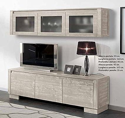 Meuble Tv 3 Cestoni Avec Suspendu Décoration Pour La Maison Bois