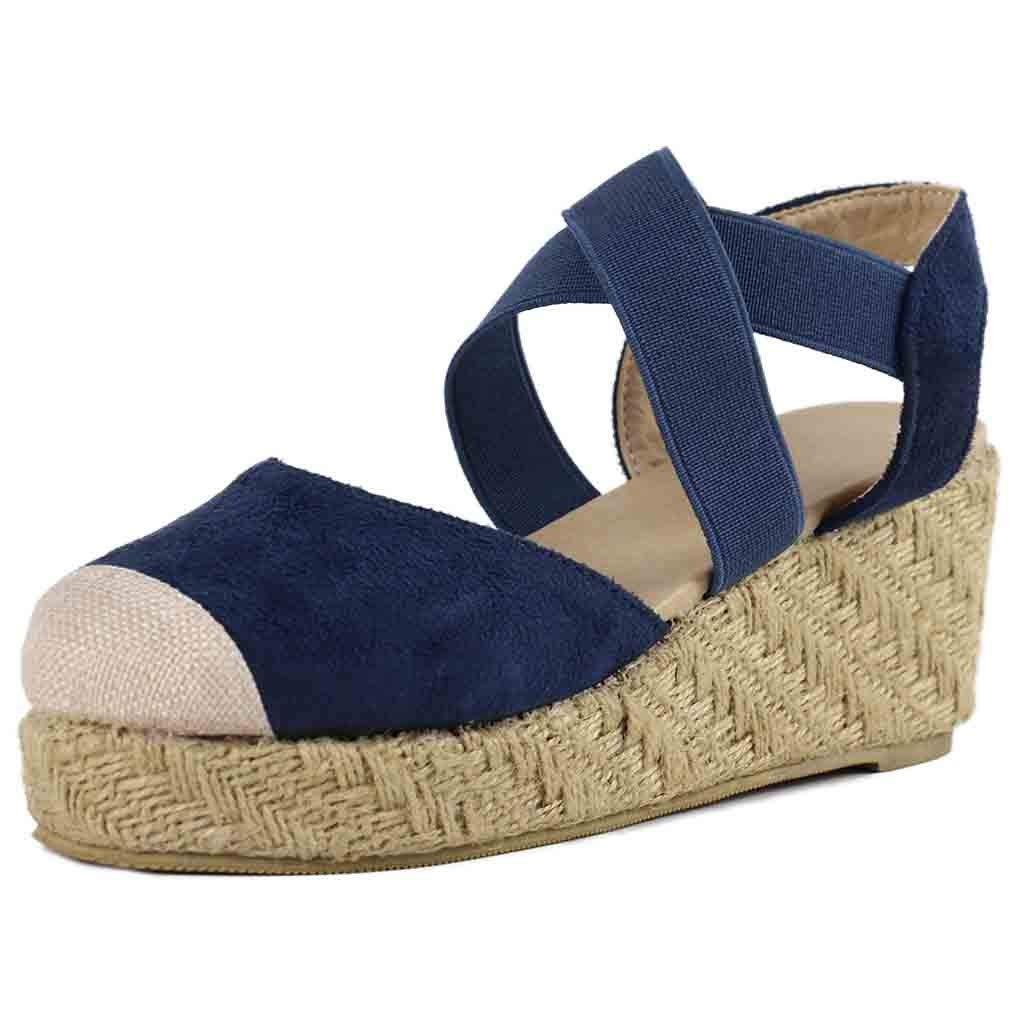 ed28fef57e7 Amazon.com: Women's Espadrilles Wedges Sandals Elastic Band Platform ...