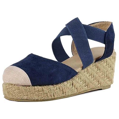 Sandalias de Plataforma de Boda Fiesta para Mujer, Mujeres Verano Zapatos de tacón Sandalias de Vestir Elegante Alpargatas: Amazon.es: Zapatos y ...