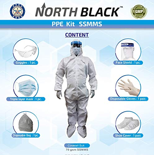 NORTH-BLACK-DRDO-Certified-Medical-SSMMS-PPE-Kit-Coverall-Hood-Gloves-Shoe-Cover-Goggles-Face-Mask-Shield-Premium-Quality-Comfortable-Breathable-Disposable-Airport-Use70-gsm-Free-Size