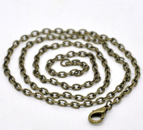 PEPPERLONELY Brand 12PC Antique Bronze Lobster Clasp Link Chain Necklaces 20 (Bronze Necklace Chain)
