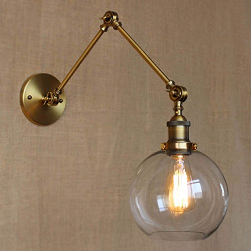 JINGUO Lighting LIndustrial Vintage Style 1 Light Wall Sconces Adjustable Swing Arm Wall Sconce Wall Light Lamp Fixture with Clear Globe Shade for Bedroom Living Room Restaurant Barn Warehouse Cafe (Vintage Swing Arm)