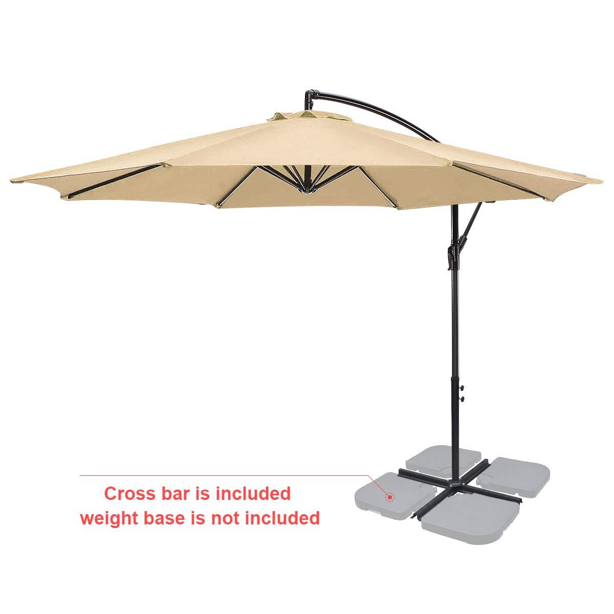 FRUITEAM 10 FT Patio Umbrellas Offset Cantilever Umbrella, Patio Hanging Umbrella Outdoor Market Umbrella with Crank & Cross Base, UPF100 UV Resistant and Waterproof, 8 Ribs Beige 1 Year Warranty