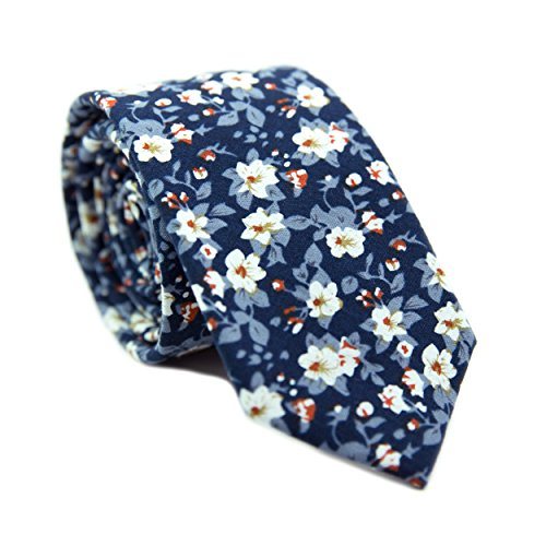 (DAZI Men's Skinny Tie Floral Print Cotton Necktie, Great for Weddings, Groom, Groomsmen, Missions, Dances, Gifts. (Blueberry)