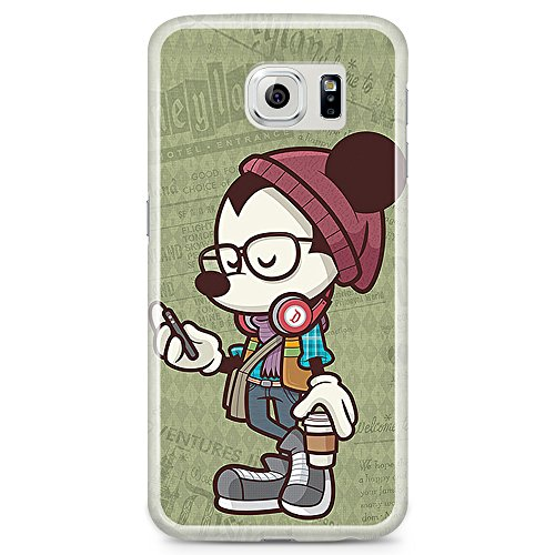 [Ashley Cases] TPU Clear Skin Cover Case for Samsung Galaxy Note 5 - Disney Mickey Mouse Headphone Sage