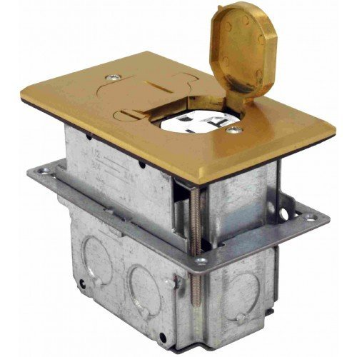 Orbit Industries FLB-D-BR Floor Flip-Type with Duplex Receptacle Cover & Adjustable Box, Tamper Resistant, Brass by Orbit Baby