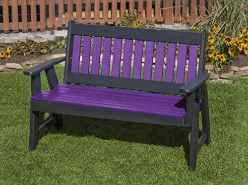 Ecommersify Inc 4FT-Bright Purple-Poly Lumber ROLL Back Porch Bench Heavy Duty Everlasting PolyTuf HDPE - Made in USA - Amish Crafted (Lumber Hdpe)