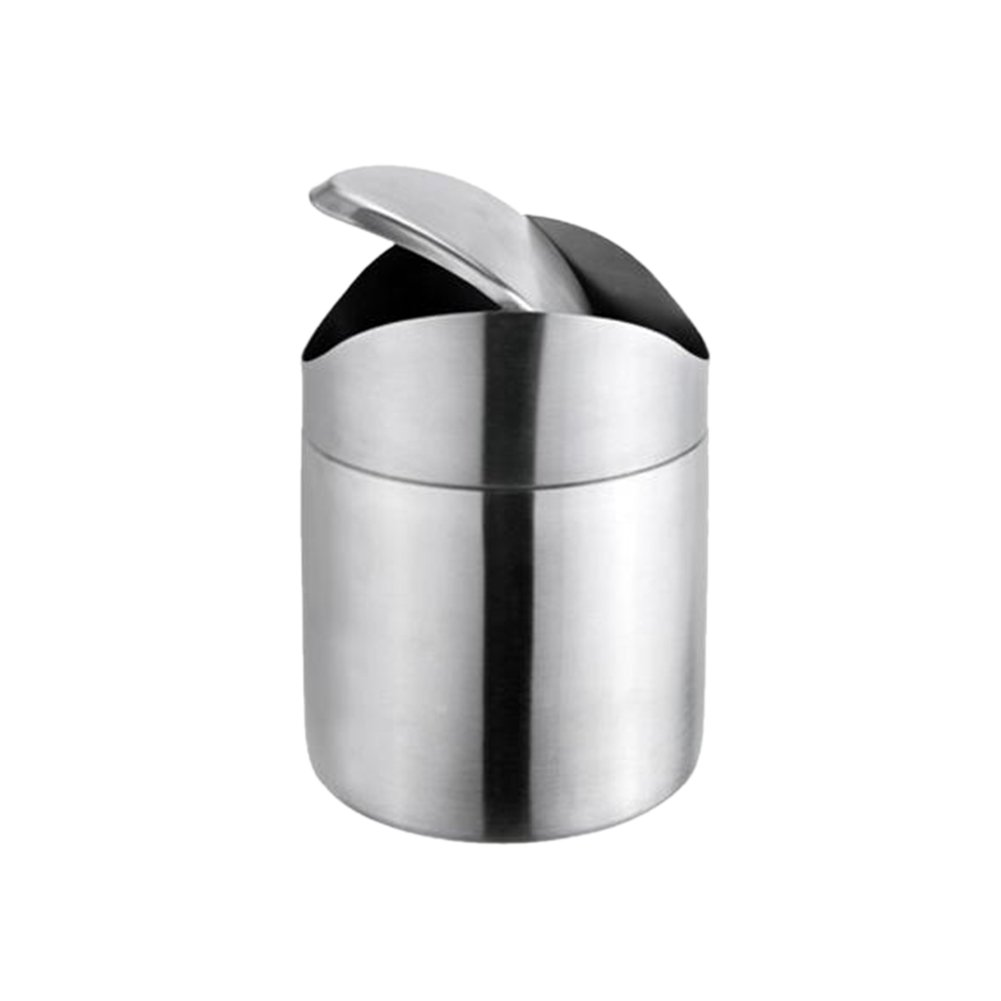 Whale GoGo Mini Stainless Steel Trash Garbage Can with Lid Kitchen Tabletop Office Desk Car Trash Bin, Pack of 1