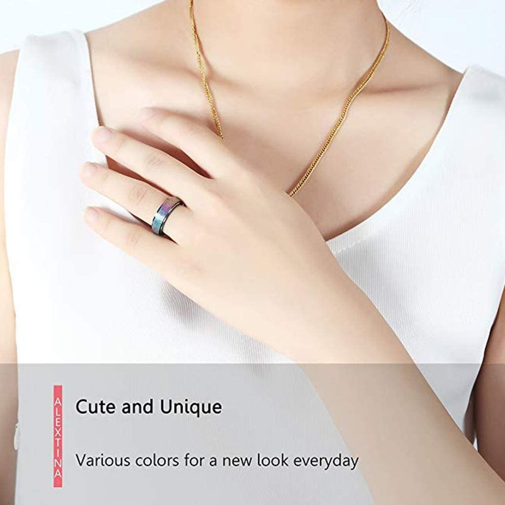 7, Multicolor Women Stainless Steel Geometry Ring Fashion Colour Jewelry Ring Bridal Diamond Elegant Engagement Best Valentines Day Mothers Day Birthday Womens Day Gift Size 5-12