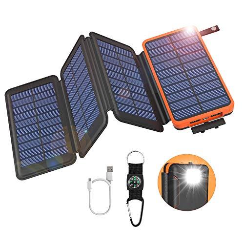 GOODaaa Solar Powerbank 25000mAh, Solar Power Bank Outdoor mit 3 Ausgängen, Solar Ladegerät mit Taschenlampen-Kompass für Handy Tablet Smartphone, Alle USB-Geräte