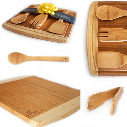Bamboo Cutting Board Gift Set With Best 3 Piece Kitchen
