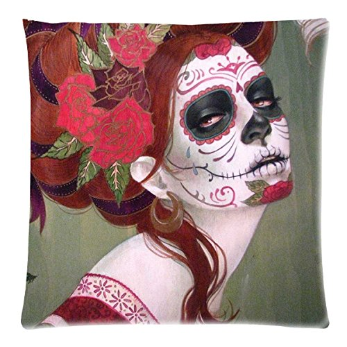 [Day Of The Dead Sugar Skull woman for Cotton and Polyester Zippered Pillow Case 20x20 (Twin Sides)] (Day Of The Dead Female Mask)