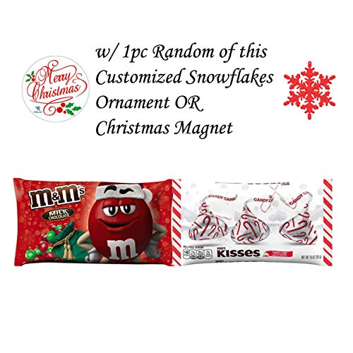 (Hersheys Kisses Candy Cane and M&Ms Red Green Candies Bundled with 1pc of Random Customized Snowflakes Ornament or Christmas Magnet, Chocolate Treat with free Decoration, Perfect Holiday Gift)